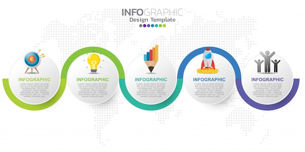 Modello di progettazione infografica cinque passaggi.