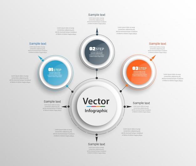 Modello di progettazione infografica con 3 opzioni o passaggi