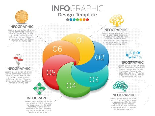 Modello di progettazione infografica con 6 opzioni di colore.