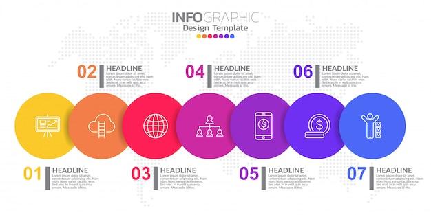 Modello di progettazione infografica con 7 opzioni di colore.