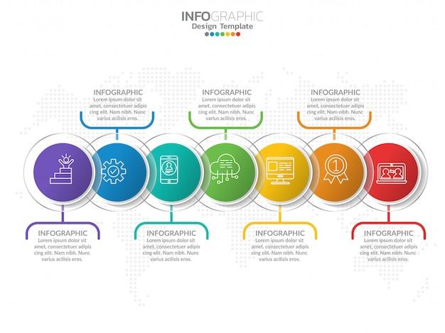 Modello di progettazione infografica con 7 opzioni di colore