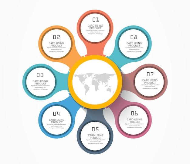 Modello di progettazione infografica con cerchi e passaggi