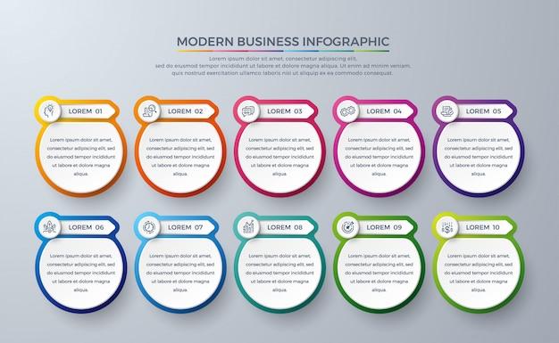 Modello di progettazione infografica con colori moderni e icona semplice