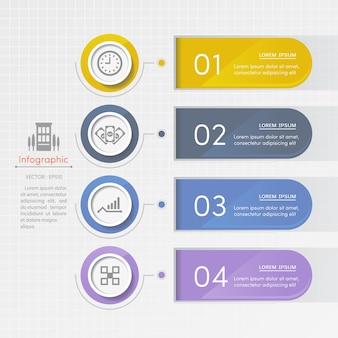 Modello di progettazione infografica con icone di affari