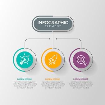 Modello di progettazione infografica con icone e 3 opzioni o passaggi