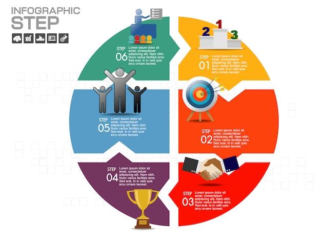Modello di progettazione infografica con icone e opzioni