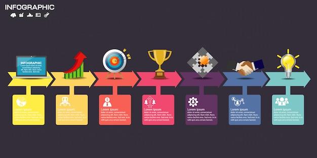 Modello di progettazione infografica con icone e opzioni.