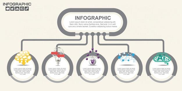 Modello di progettazione infografica con opzioni, diagramma di processo.