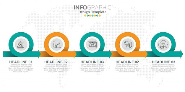 Modello di progettazione infografica con opzioni o passaggi.