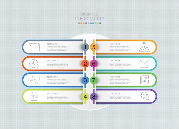 Modello di progettazione infografica con otto opzioni o passaggi