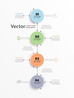 Modello di progettazione infografica con quattro opzioni o passaggi