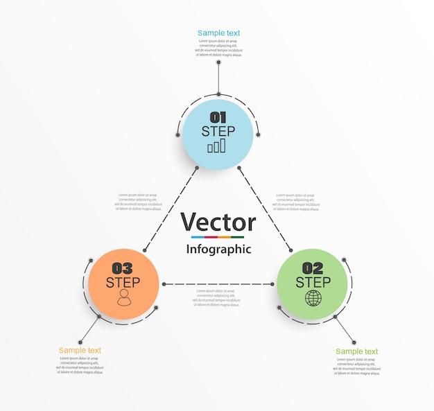 Modello di progettazione infografica con tre opzioni o passaggi