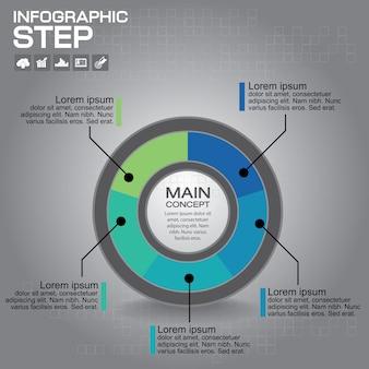 Modello di progettazione infografica. concetto di affari di infografica con 5 opzioni, parti, passaggi o processi.