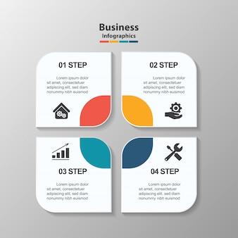 Modello di progettazione infografica creativa, 4 caselle di testo rettangolo con pittogrammi.