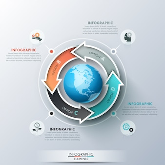 Modello di progettazione infografica creativa con 4 frecce multicolori disposte intorno a globo, pittogrammi e caselle di testo