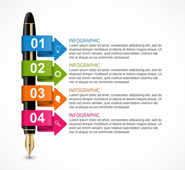 Modello di progettazione infografica di affari. penne a inchiostro colorate illustrazione vettoriale