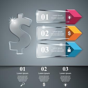 Modello di progettazione infografica dollaro e icone di marketing