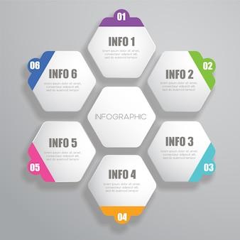 Modello di progettazione infografica esagonale