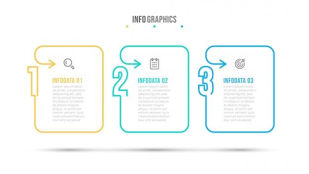 Modello di progettazione infografica linea sottile e numero. concetto di business con icona e 3 opzioni, passaggi o processi.