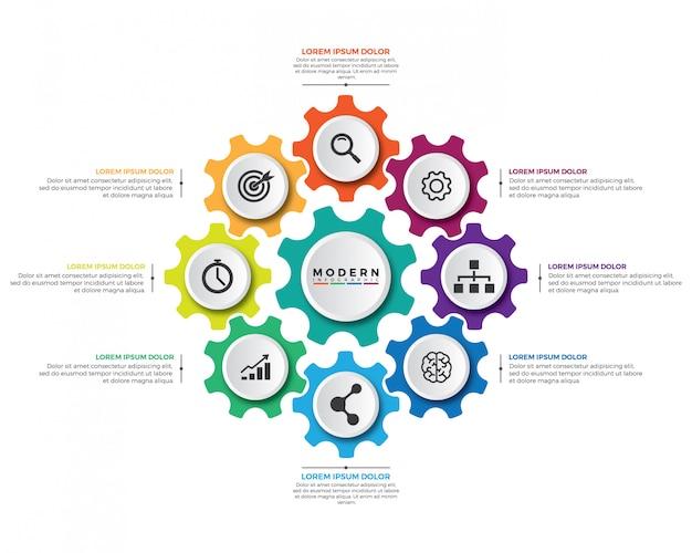 Modello di progettazione infografica meccanismo moderno di affari.