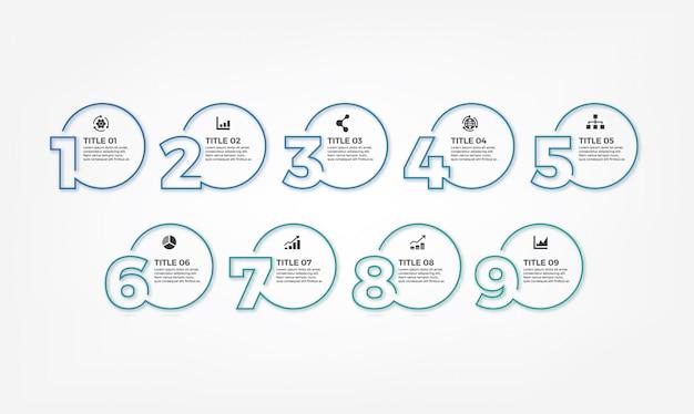Modello di progettazione infografica moderna linea sottile semplice