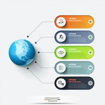 Modello di progettazione infografica moderna. pianeta collegato con 5 caselle di testo arrotondate e icone a linea sottile