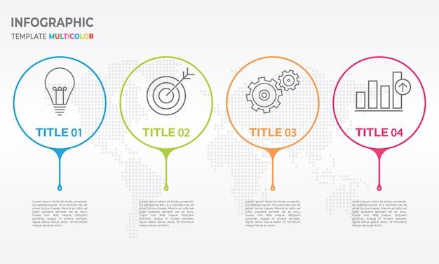 Modello di progettazione infografica timeline con 4 opzioni