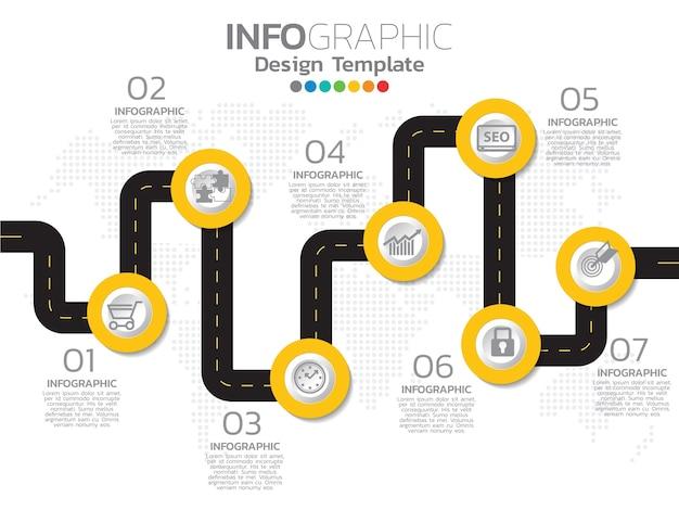 Modello di progettazione infografica timeline con 6 opzioni di colore