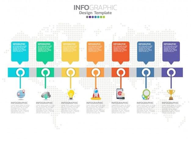 Modello di progettazione infografica timeline con 7 opzioni, diagramma di processo.