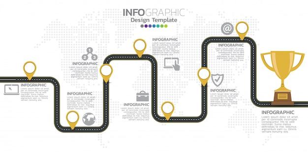 Modello di progettazione infografica timeline con 7 opzioni