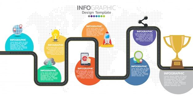Modello di progettazione infografica timeline con 8 opzioni, diagramma di processo.