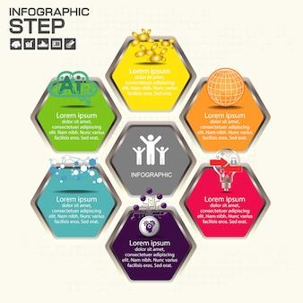 Modello di progettazione infografica timeline con opzioni, diagramma di processo
