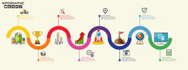Modello di progettazione infografica timeline con opzioni, diagramma di processo,