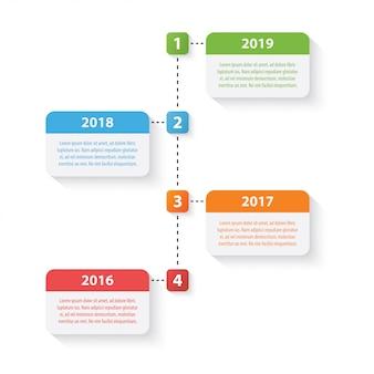 Modello di progettazione infografica timeline quattro colorato