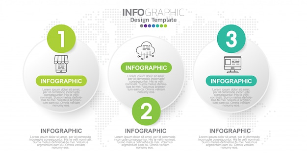 Modello di progettazione infografica tre passaggi.