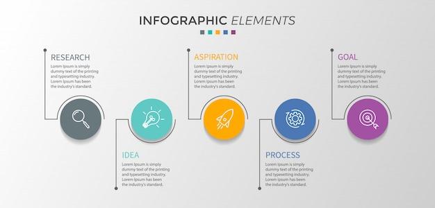 Modello di progettazione infografica vettoriale con cinque opzioni o passaggi.