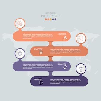 Modello di progettazione infografica vettoriale con quattro opzioni o passaggi.