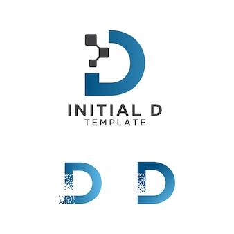 Modello di progettazione iniziale logo lettera d pixel