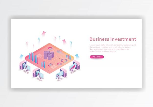 Modello di progettazione isometrica di investimento aziendale