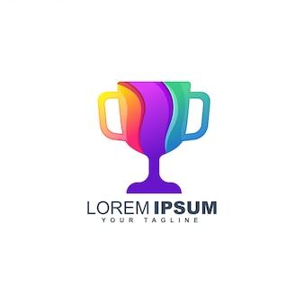 Modello di progettazione logo astratto trofeo colorato