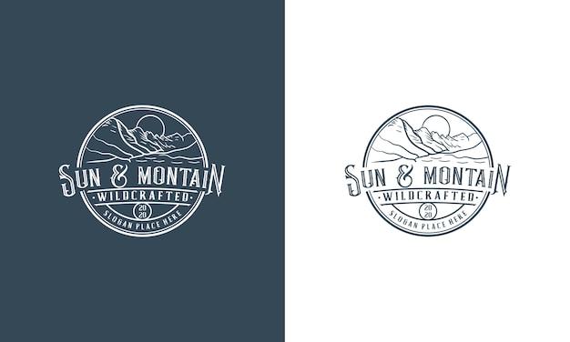 Modello di progettazione logo avventura montagna vintage