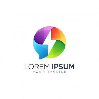 Modello di progettazione logo bullone colorato