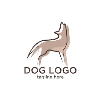 Modello di progettazione logo cane minimalista