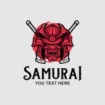 Modello di progettazione logo maschera samurai