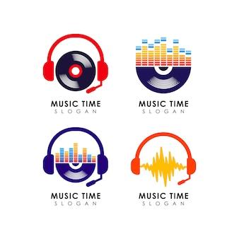 Modello di progettazione logo musicale. disegno di simbolo dell'icona di musica