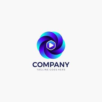 Modello di progettazione logo pulsante play. intrattenimento, editing video, registrazione, app video, ecc.