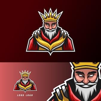 Modello di progettazione logo re sport signore esport con armatura, corona, barba e baffi spessi