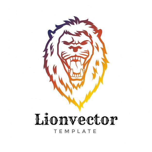 Modello di progettazione logo scudo lion. logo della testa di leone. elemento per l'identità del marchio, illustrazione vettoriale