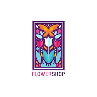 Modello di progettazione logo semplice ed elegante di vettore in stile piatto alla moda - emblema astratto per negozio floreale