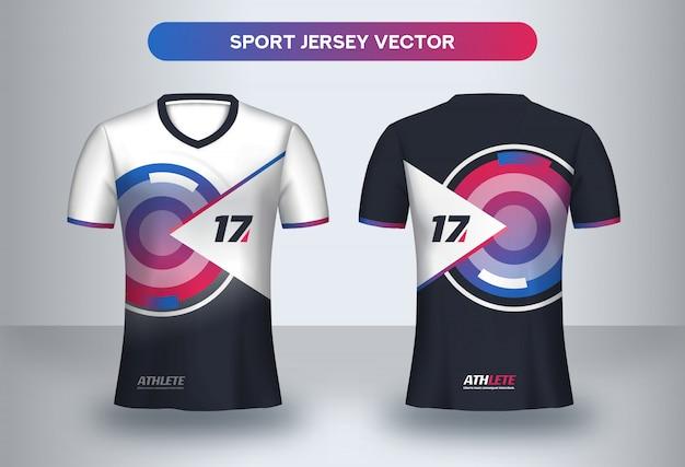 Modello di progettazione maglia calcio. t-shirt uniforme da calcio davanti e dietro.